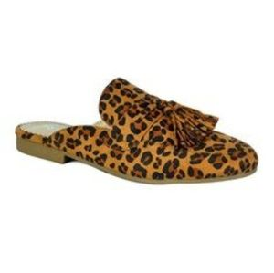 Leopard Print Mules with front tassels by Westwood